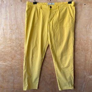 Zara Z1975 Denim Mustard Yellow Chino Style Pants